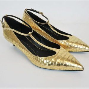 Giuseppe Zanotti Pumps Gold Snake-Embossed Leather